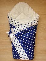 Теплый конверт Одеяло на выписку весна осень зима 90х90см синий звезды бант