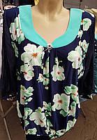 Легкая блуза с шифоновыми однотонными рукавами