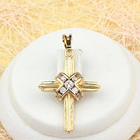 R4-0443 - Красивый позолоченный кулон-крест с прозрачными фианитами
