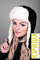 Зимняя шапка-ушанка на набивной овчине
