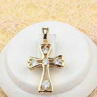R4-0448 - Нежный позолоченный кулон-крест с прозрачными фианитами