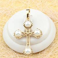 R4-0449 - Великолепный позолоченный кулон-крест с иск.жемчугом