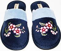 """Тапочки женские Sanipur KSGR 004 темно синие, велюр, шлепанцы, плоская подошва, вышивка """"цветок"""", полоска."""
