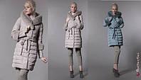 Стеганная женская куртка  с поясом и мехом