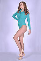 Модная женская блуза-боди бирюзового цвета