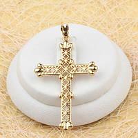 R4-0432 - Чудесный позолоченный резной кулон-крест