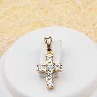 R4-0433 - Милый позолоченный кулон-крест с прозрачными фианитами