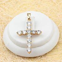 R4-0435 - Восхитительный позолоченный кулон-крест с прозрачными фианитами