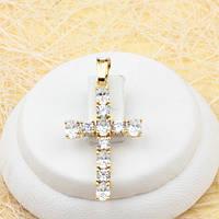 R4-0436 - Красивый позолоченный кулон-крест с прозрачными фианитами