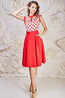 Яркая женская юбка-миди красного цвета