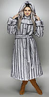 Эко Шуба с капюшоном,Серо-голубая норка 42,44,46,48,50,52,54,56