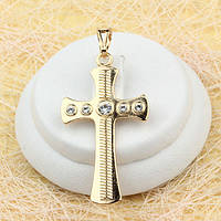 R4-0456 - Оригинальный позолоченный кулон-крест с насечками и прозрачными фианитами