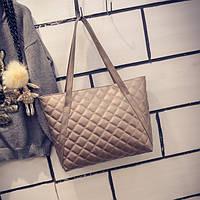 Большая женская стеганая сумка в стиле Chanel из кожзама бронзовая