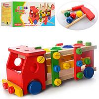 Деревянная игрушка Стучалка BLS 223 (40шт) машинка-конструктор,молоток,отвертка,в кор-ке, 31-13-12см