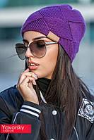 Женская вязанная осенняя шапка