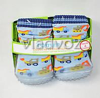 Детские носки с подошвой для мальчика 4 (12 месяцев) машинки 10.5 см-11.5 см.