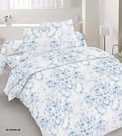 Комплект постельного белья сатин семейный голубая абстракция