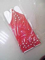 Перчатки детские нарядные со стразами (красные)