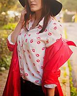 Рубашка (блузка) женская с поцелуйчиками модная весна 2016