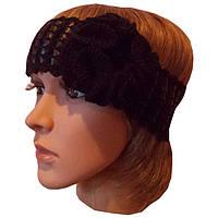 Вязаная повязка на голову черного цвета c элементами кожи