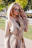 Кашемировое пальто с большим капюшоном на поясе (4 расцветки)