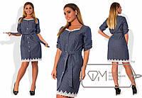 Джинсовое платье в мелкий горошек