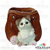 Кашпо Сумка с котиком и клубком