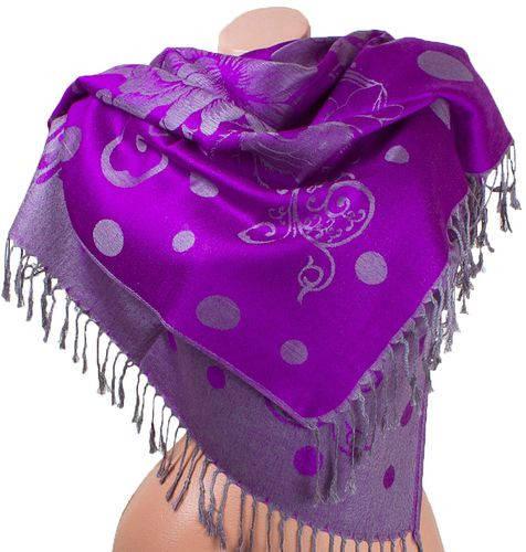 Яркий двусторонний палантин из пашмины 182 на 69 см ETERNO ES2707-6-3 фиолетовый