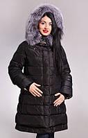 Удлиненная свободная куртка с мехом искусственным чернобурка