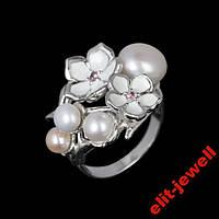 Серебряное кольцо Мерси с эмалью и жемчугом