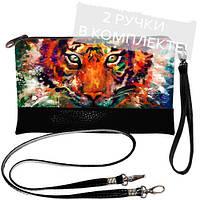 Женская сумка клатч с тигром