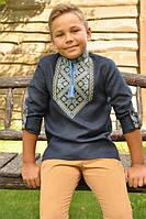 Вышиванка на мальчика темно-синяя