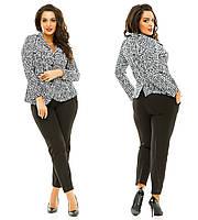 Женский костюм-двойка с бриджами и пиджаком больших размеров