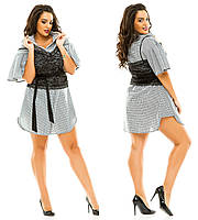 Женское платье-рубашка с гипюровым корсетом больших размеров