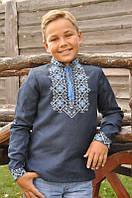 Вишита сорочка для хлопчика темно-синя