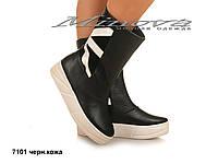Демисезонные женские кожаные черные ботинки на платформе (размеры 36-41)