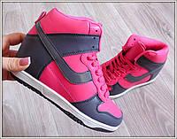 Сникерсы женские розовые ботинки на танкетке