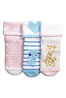 Махровые носочки для новорожденной девочки (3 пары)