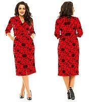 Женское платье миди больших размеров с флокированным рисунком