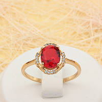 002-1737 - Эффектное позолоченное кольцо с красным и прозрачными фианитами, 18, 18.5, 19 р.