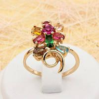 002-1739 - Великолепное позолоченное кольцо с цветными фианитами, 17.5, 19 р.