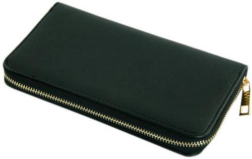 Практичный мужской бумажник-портмоне из искусственной кожи Traum 7110-13, черный