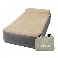 Велюровая надувная кровать 67776 INTEX с электрическим насосом