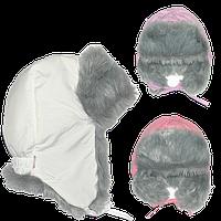 Детская шапочка на холлофайбере, с хлопковой подкладкой и меховой отделкой, на завязках, р. 46, 48