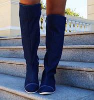 Модные женские сапоги ботфорты на молнии подошва плоская с мехом