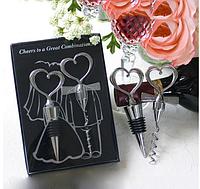 Подарки гостям на свадьбе - Набор: штопор и заглушка для винной бутылки