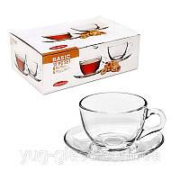 """Набор чашек для чая 220 мл стеклянный """"Basic 97948"""" 12 предметный."""