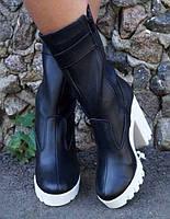 Модные теплые женские сапоги на белой танкетке и каблуке натуральная кожа мех
