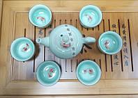 Набор для чайной церемонии, чайник, пиалы 6 шт, с рыбками