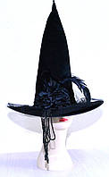 Шляпа ведьмы с бусами (черная) 050916-020